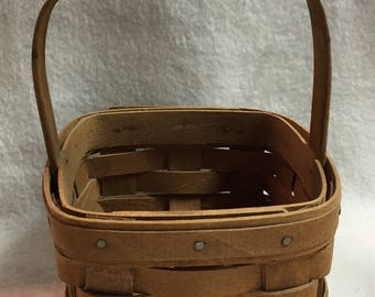 Longaberger 1986 Small Square Basket with Wood Handle (#010)