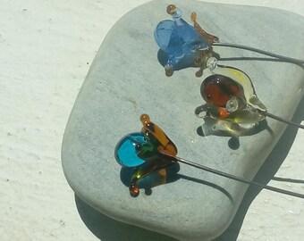 Bouquet Féérique - fleurs en verre filé au chalumeau sur acier