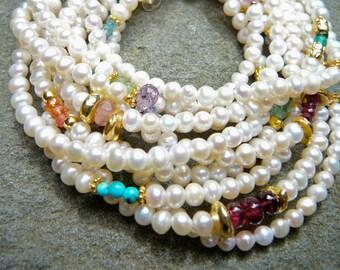 Pearl and Gemstone Bracelet,Pearl Bracelet,Freshwater Pearl Bracelet,Pearl Jewelry,Multistrand Bracelet,Gemstone Bracelet,Multi Color Gems