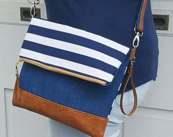 Blue White Striped Denim Crossbody Bag, Brown Faux Leather, Crossbody Purse, Clutch, Wristlet, Shoulder Bag, Handbag, Birthday Gift