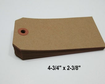 "KRAFT Paper Tags, Kraft Luggage Style Paper Tags, Kraft Gift Tag, Kraft Parcel Tag, Kraft Wish Tags, Blank Tags, 4 3/4"" x 2 3/8"" -  200 Tags"