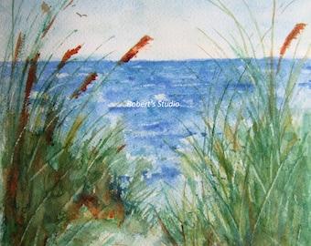 The Beach, Print Of Original Watercolor seascape painting, watercolor art, watercolor print, beach art, beach painting, beach watercolor.