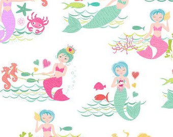 Merryn TP 2001-1 Mermaid Scenic Cotton Quilting Sewing Crafting Fabric by Andover