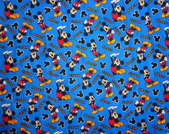 Blue Mickey Mouse Posing Toss Cotton Fabric by the Yard