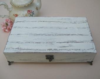 Creamy Tea box Shabby Chic Home Decor / Tea bag box, wooden tea box, tea cabinet