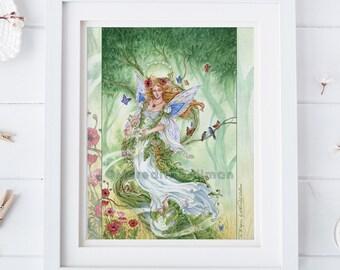 The Empress tarot art, Poppies, Fairy Queen, abundance, growth, nature, woodland forest, 8x10,