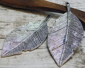 81x35mm - Leaf Pendant - Silver Pendants - Metal Pendant - Metal Findings- Jewelry Findings - (B179)