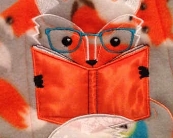 Nap mat cover Childs sleep mat cover orange white gray blue fox embroidered webbing slip on strap with handle sturdy back ticking stripe