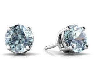 Natural Aquamarine Round Stud Earrings .925 Sterling Silver Rhodium Finish White Gold Quality