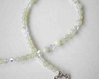 Chinese Jade Gemstone Necklace w Swarovski Clear Crystals
