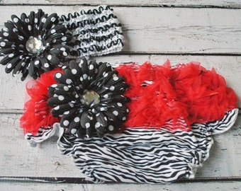 SALE Zebra/Red Ruffle/Polka Dot Flower Baby Bloomers with Matchind Headband Set. Size Small Only.