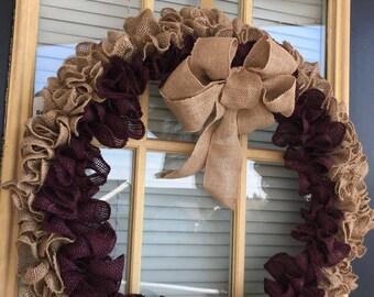 "20"" Wine and Natural Ruffled Burlap Wreath"