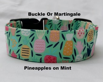 Pineapples on Mint-Choose Buckle or Martingale Dog Collar-Foodie Fruit Dog Collar- Mint Dog Collar