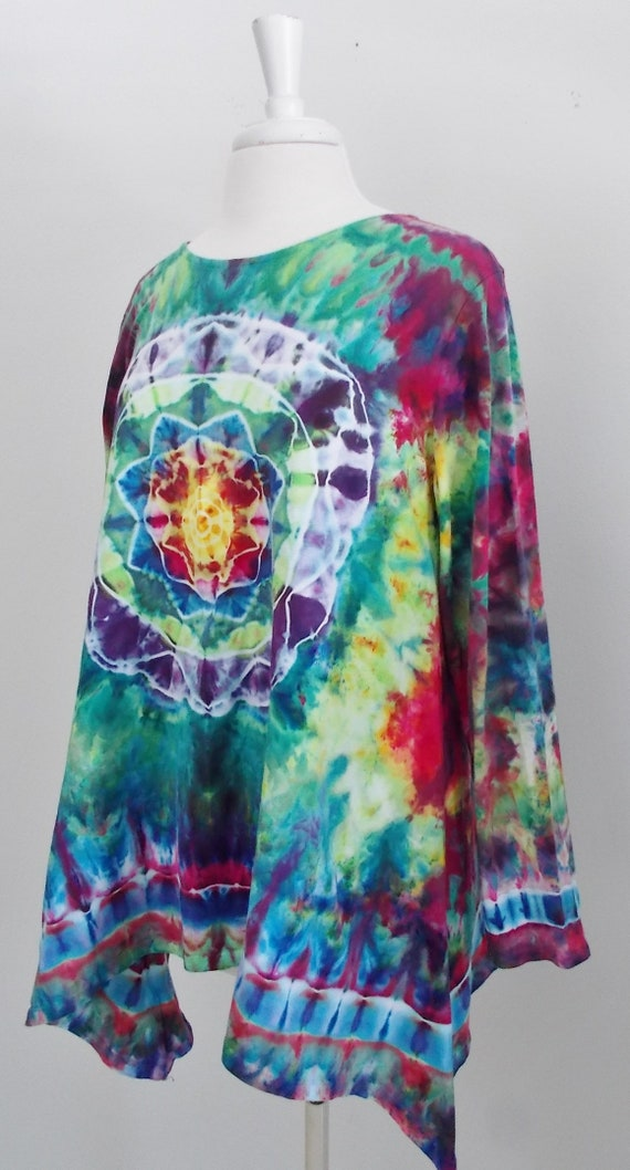 Hanky-hem tunic Ice dye tie dye Women's  XL Long Sleeve Cotton Shirt Tunic