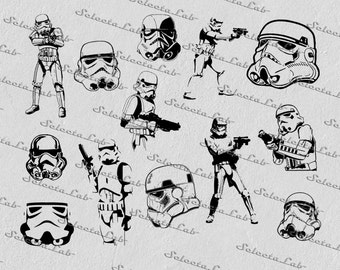 Digital SVG PNG  stormtrooper, star wars inspired, clipart, vector, silhouette, instant download