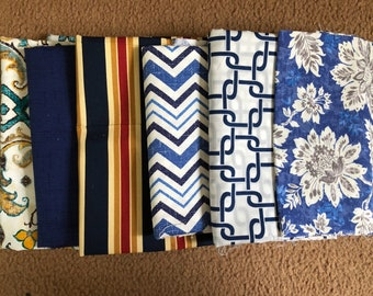 2 Pounds+ Fabric Remnants Blue Nice Prints - New