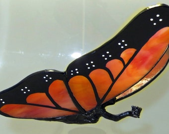 Stained Glass Butterfly Fairy Hand-Painted Monarch Butterfly Flying Figurine - Made to Order (MON010)