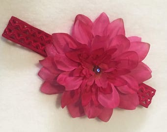 Gorgeous Pink Dahlia Flower Headband Child Baby