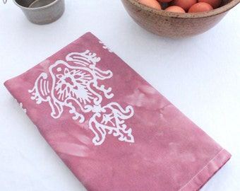 mauve finials cotton tea towel