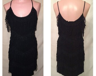Short black fringe dress #60
