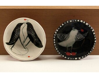 Birds - Ceramic Two Bowl Set - Original Painting by Jenny Mendes in two Hand Pinched Ceramic Finger Bowls