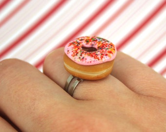 pink doughnut ring kawaii polymer clay charms miniature food jewelry polymer clay food ring pink donut ring doughnut charm dunkin donuts