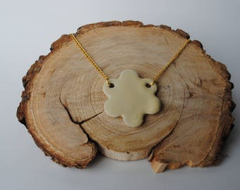 Handcrafted Ceramic Necklace   Canary Flower & Gold Chain Necklace