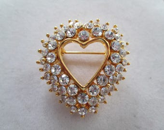 Beautiful triple stacked crystal rhinestone accent gold heart Brooch Pin