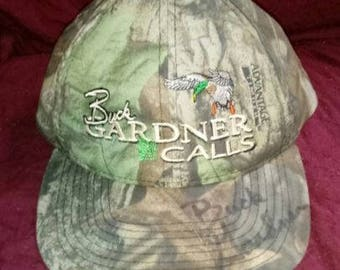 Vintage SIGNED Buck Gardner Calls Snap Back Hat Advantage Timber Duck