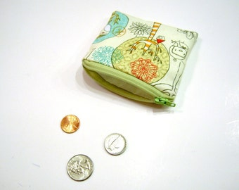Coin Pouch in Green Birds and Trees