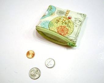 Münze Tasche in grün Vögel und Bäume