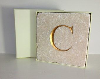 Hand Carved Gold Letter 'C' in Stone Wall Tile.  Personalised Gift.  Wall Hanging. Decorative Arts.  Letter Carving