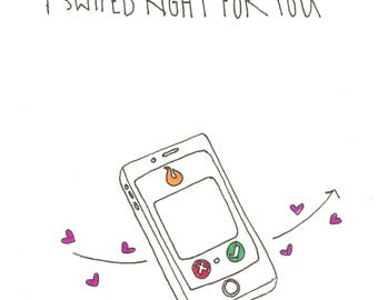 Online Dating Valentines Day Card - swiped right
