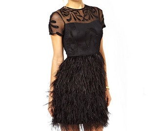 Black Feather Ribbon Trim
