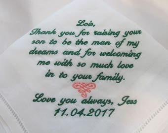Embroidered 100% Linen Wedding Handkerchief for Mother of the Groom