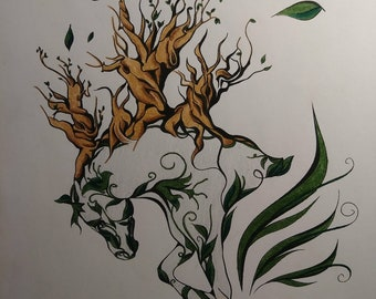 OOAK Original Abstract Horse/Tree Colored Pencil Drawing
