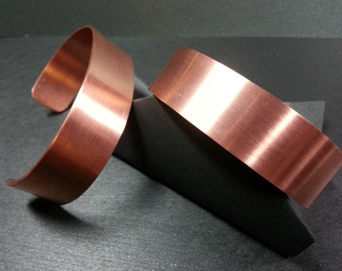 Copper Bracelet Cuff. Satin finish. Solid, understated, plain, simple, and nice looking everyday wear. Both men and women sizes.