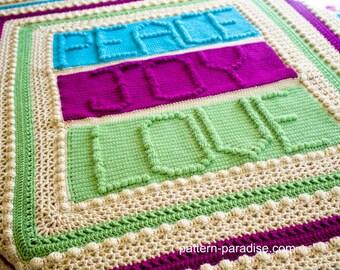 Crochet Pattern Afghan Throw Blanket Peace Joy Love  PDF 16-238 INSTANT DOWNLOAD