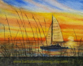 Sunset Print, Nautical Wall Decor, Sailboat Print, Sunset Painting, Sailboat Painting, Sunset Watercolor, Sunset Wall Art, Beach Sunset Art