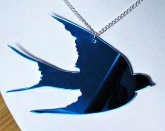 Blue Swallow Giant Statement Mirror Bird Necklace