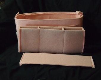"Purse Organizer Insert 15.5'l x 7""h x 5.5""d ...12 Pockets.. LV purse insert bottom shaper..Pink Felt insert"