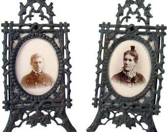 Cast Bronze Easel-Back Picture Frames - 1880's