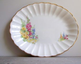 Sovereign Potters Platter , Vintage Earthenware Serving Platter , Floral Hollyhocks , Cottage Chic Decor