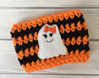 Halloween cup cozy, Halloween, ghost cup cozy, cup cozy, coffee cozy, coffee cup cozy, coffee sleeve, reusable cup sleeve, cozy