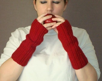 Cranberry Red Fingerless Gloves - Crochet Fingerless Gloves, Wrist Warmers, Arm Warmers, Fingerless Mittens, Mitts, Etc. - Autumn Fashion