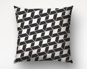 Graphic Pillow, Modern Decor, Black Pillow, Pattern Print, Designers Pillow