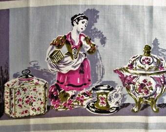 Vintage Towel Mid Century Kitchen Linens Purple Grey Gray Tea Towel Dish Towel Dish Cloth Hardy Craft Vintage Linens