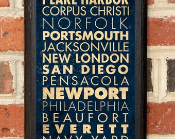 US Navy Midshipmen Points of Interest Ports Wall Art Sign Plaque Gift Present Home Decor Vintage Style USNA Sailor Naval Academy Classic