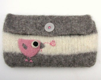 Felted bag gray white wool pouch purse needle felted pink birdie and heart