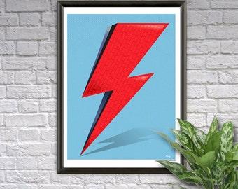 Ziggy Bolt - David Bowie Ziggy Stardust Wall Art Poster - Rock Music